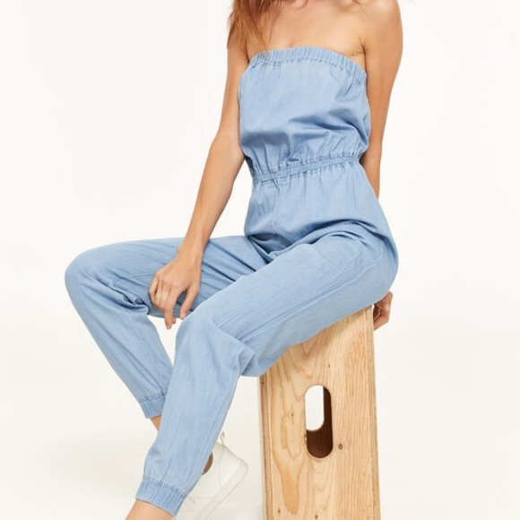 NWOT Blue Strapless Chambray Jumpsuit